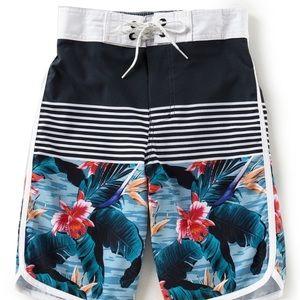 Big Boys Floral Border Stripe Swim Trunks